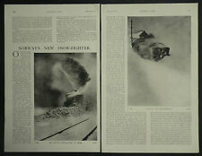 Norway New Rotary Snow-Plough Railway Bergen 1910 3 Page Photo Article 6966