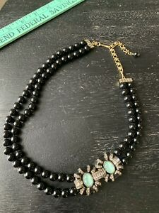 Heidi Daus Black 2 Strand Beaded Necklace Gold Aqua Blue Rhinestone Crystal