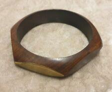 Lovely wooden hexagonal bangle style bracelet with brass tone panels boho