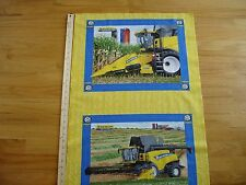 New Holland Cornrower Farm Machinery Cotton Quilt Fabric Panel Blocks (2)