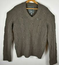Abercrombie & Fitch Mens Sweater Cable Knit V Neck Brown Lambs Wool Cashmere M