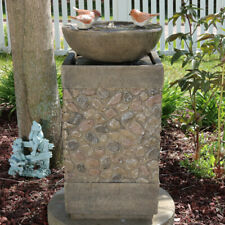 """Sunnydaze 3 Bathing Birds Outdoor Water Fountain 25"""" Water Feature with Led"""