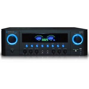 Technical Pro 1000W Professional Bluetooth Receiver w/ USB SD Card, 2 Mic Inputs