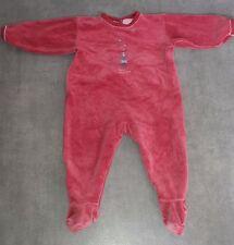 Dors bien grenouillère pyjama en velours rouge bordeaux 12 Mois PETIT BATEAU