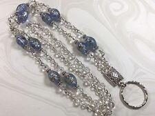 Blue Confetti Lanyard, White Silver Beaded Badge Holder,  Breakaway Opt.