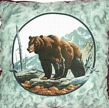 """Home Decor Pillow Bear in Winter Forest Burgundy Gray Brown 18"""" inch Square New"""