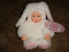 """Anne Geddes Baby Bunny white rabbit Doll 6.5"""" open painted blue eyes"""