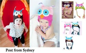 NEW Hand Crochet Knit Owl Hat Baby Girl Beanie *One size fits 1-4 Years*
