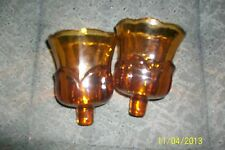 Set Of 2 Home Interior Vitage Amber~Brown Tulip Votive Cups, Heavy Glass