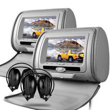 "Universal 7"" Grey Leather-Style Car HD DVD Headrests with SD/USB Audi Q3/Q5/Q7"