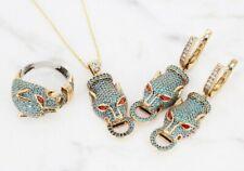 Turkish Handmade Turquoise Silver 925 Tiger Set Earring Ring Pendant 6-12