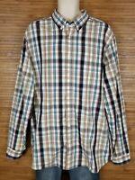 Eddie Bauer Brown Classic Fit Plaid Button Front Shirt Mens Size XLT Tall EUC