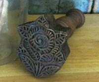 Primitive Farmhouse carved wood Detailed Rose Flower Butter Mold Stamp Press