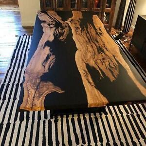 Black Matte Epoxy Natural Wooden Sofa, Center Dining Table Handmade Hallway Deco