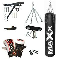 Punch Bag Boxing Set Black 3ft 4ft 5ft Filled Heavy Punchbag Gloves Bracket Maxx