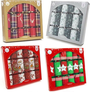 "Box 6 x Large 12"" Christmas Crackers Traditional Family Dinner Gift Joke Hat"