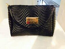 Versace Parfums Black Gold Women's Small Clutch Purse Handbag Wristlet Attached