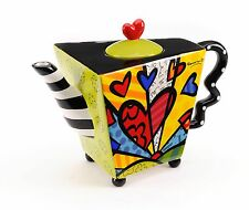 ROMERO BRITTO LARGE  TEAPOT - A NEW DAY HEART  ** NEW **  GIFT BOX