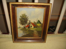 Vintage Oil Painting On Board-Country Village-Signed Von Wilgen-NuMold Creation