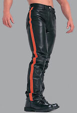 Leather pants NEW leather black red Gay pant with Red And Blue Strap.