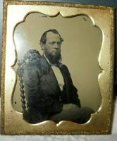 1/6th Ambrotype image of older gentleman in a brass frame