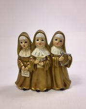 Vintage Gold Singing Nuns Musical Christmas Decoration With Box