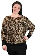 Ladies Plus Size Animal Leopard Print Long Sleeve Oversized Baggy Batwing Top