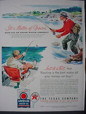 1951 Fly + High Sea Fishing Texco Havoline Motor Oil Vintage Print Ad 12340