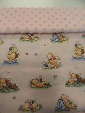 Blanket Moses Basket Bassinet Pram Capsule Baby - Winnie The Pooh - Pink Minkee