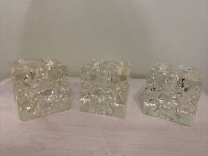 Heavy Glass Indented Cube Taper Candle Holder Lot Of 3