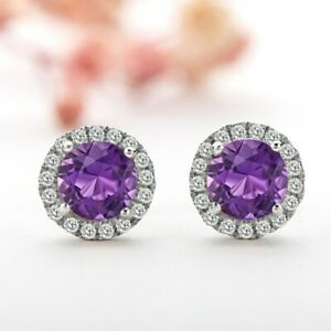 4Ct Round Cut Amethyst Diamond Halo Push Back Stud Earrings 14K White Gold Over