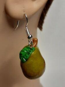 AUTUMN HARVEST Green Pear Set: Polymer Clay Earrings Dangling Wire Pierced