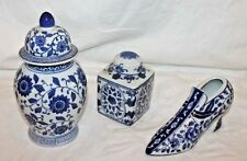 Blue and White Porcelain Shoe Hand and 2 Ginger Jars