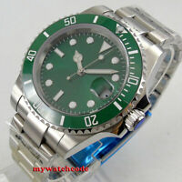 40mm PARNIS green dial luminous Sapphire glass Ceramic automatic mens watch B327