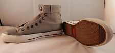 LEVI'S gray denim high top shoes, leather patch, sz 6, white rubber, button top