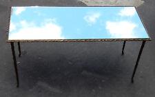 1950/70' Table Basse en Bronze Doré Décor Palmier Maison Charles 87 X 37 cm
