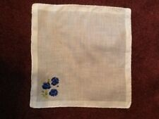 White Cotton Hanky With Blue Embroidered Poppies