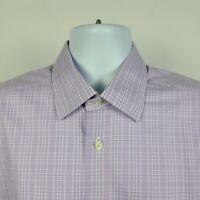 David Donahue Lavender Purple Check Plaid Mens Dress Button Shirt 16.5 34/35