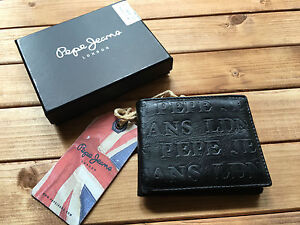 PEPE JEANS NEW MENS WALLET PURSE 100% GENUINE COW LEATHER EMBOSSED BLACK BNIB BN