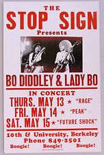 BO DIDDLEY & Lady Bo Boxing Style Concert Poster, Stop Sign, Berkeley, 1970