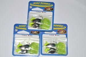 3 packs blakemore road runner 2 pr 1/8oz black chartreuse crappie thunder jig
