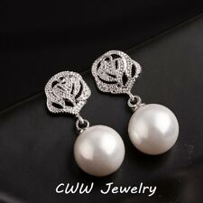 Round Drop Pearls Earrings For Women Pearl Dangle Fashion Flower CC Crystal