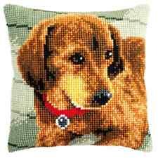 Bassotto - Cane Grande Forata Con Stampa Cuscino Arazzo Kit - Doppio Punto Croce