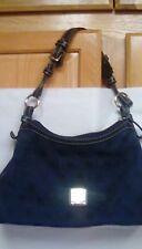 L20 Dooney Bourke blue canvas and leather shoulder satchel tote handbag