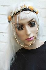 Mermaid Pearl Crown Gold Sea Shell Festival Head Band Chain Beach Gobbolino