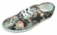 Womens Gray Pink Floral Print Canvas Sneaker Lace Up Plimsoll Tennis Shoes 6-10
