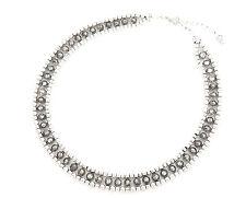 CC290 * Collier Tour de Cou Perles Métal Vieilli Vintage Mode Femme - Gris