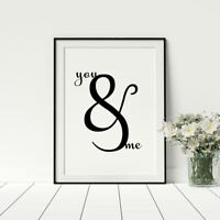 You And Me Black And White Bedroom Wall Art Framed Prints A1 A2 A3 A4 A5