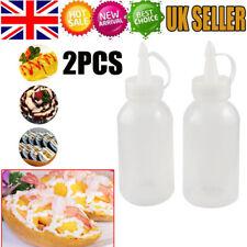 2x Plastic Clear Squeeze Squeezy Sauce Bottle Dispenser Bottles kitchen Tool UK