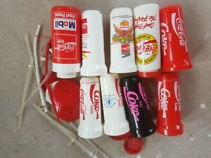 Vintage Coca Cola plastic drinks cups from 90s. 9 in total